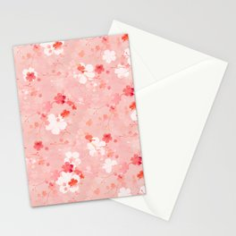 Peach pink Chinese cherry blossom Stationery Cards