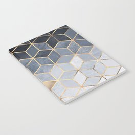 Soft Blue Gradient Cubes Notebook