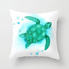 Green Turtle Client Rework Throw Pillow