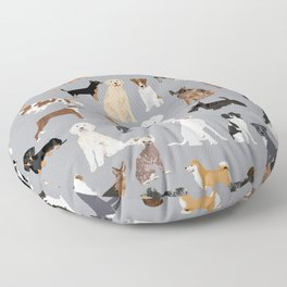 Mixed Dog lots of dogs dog lovers rescue dog art print pattern grey poodle shepherd akita corgi Floor Pillow