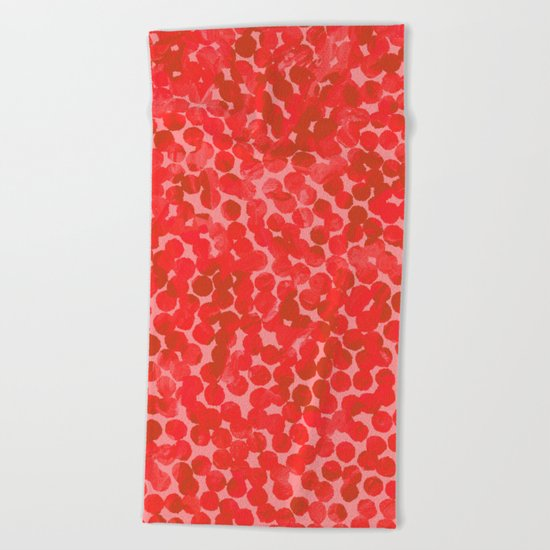 Coral Red Dots Beach Towel