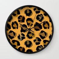 leopard Wall Clocks featuring Leopard by Julia Badeeva
