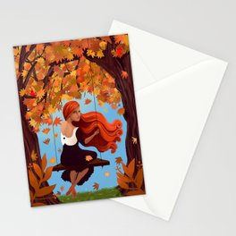Meredith in Autumn in the Park Stationery Cards