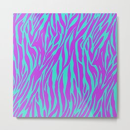 Purple and Green Zebra print Metal Print
