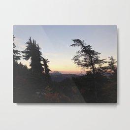 Mountain tree sunset Metal Print