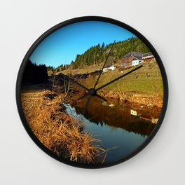 A river, the valley and traditional farmland | waterscape photography Wall Clock