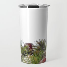 Christmas Decorative Wreath on White Background Travel Mug
