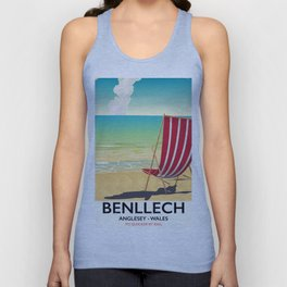 Benllech, Anglesey Wales vintage travel poster Unisex Tank Top