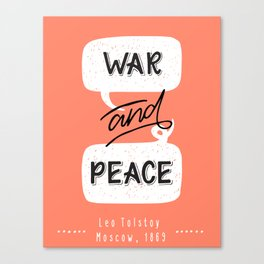 War and Peace hand lettering Canvas Print