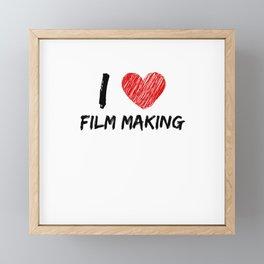 I Love Film Making Framed Mini Art Print