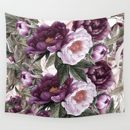 Purple Plum Pink Watercolor Peonies and Greenery Wall Tapestry