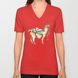 Watercolor Llama Unisex V-Neck