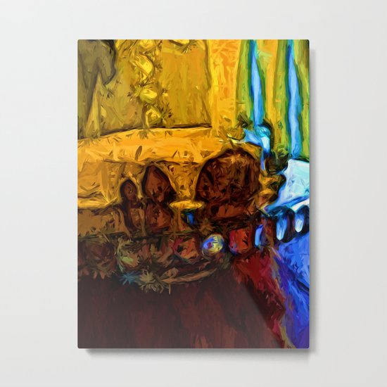 Cake with Yellow Icing Metal Print