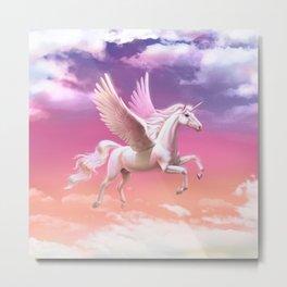 Flying unicorn at sunset Metal Print
