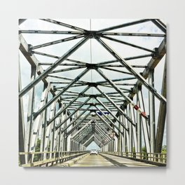 Geometric bridge structure Metal Print