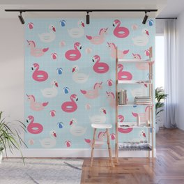 Unicorn Pool Float and Pink Flamingo Pool Float on Blue Background Wall Mural