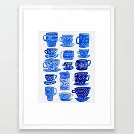 Coffee Mugs and Tea Cups - A study in blues Framed Art Print