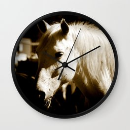 White Horse-Sepia Wall Clock