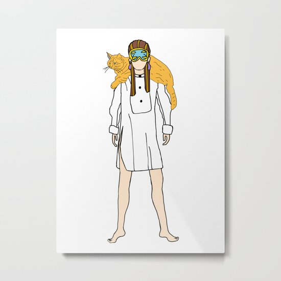 Holly and Cat Metal Print
