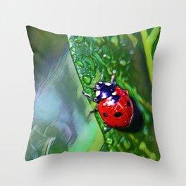 Ladybug Leaf   Painting  Throw Pillow