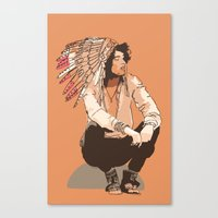 indie Canvas Prints featuring Indie Chief by joshuahillustration