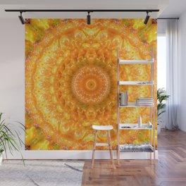 Orange Habanero Hot Peppers Mandala Fractal Design Wall Mural