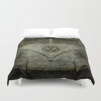 vw bus Duvet Covers featuring VW Zombiemobile - A killer Zombie bus by Bruce Stanfield
