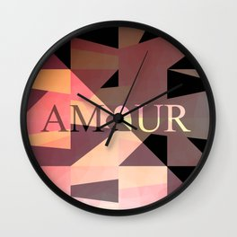 Amour Love Heart Cubic Design Wall Clock