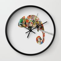 chameleon Wall Clocks featuring Chameleon by Cyron Agustin
