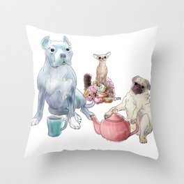 The pitbull pug and chi sat down for some tea Throw Pillow