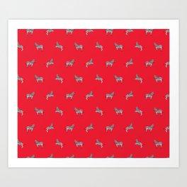 Red Zebras Art Print