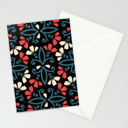 Decorative Floral Pattern 28 - Black, Ming Blue, Flamingo Red, Givry Stationery Cards