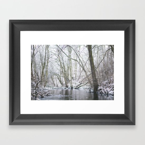 Winter forest... with a little red-hair cat:) Framed Art Print