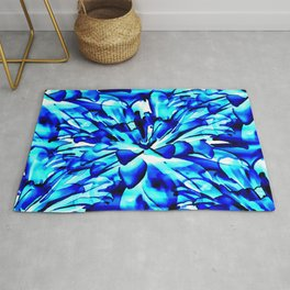 Painterly Ocean Blue Floral Abstract Rug