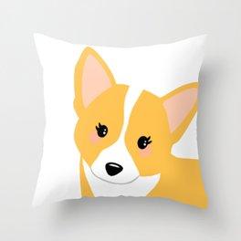 Tan corgi Throw Pillow