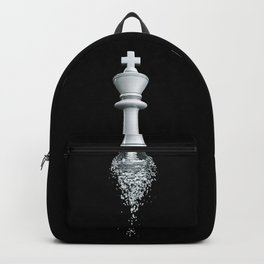 Farewell to the Pale King / 3D render of chess king breaking apart Backpack