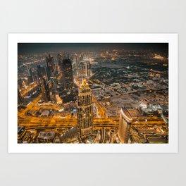 Burj Khalifa in Dubaï by Night Art Print