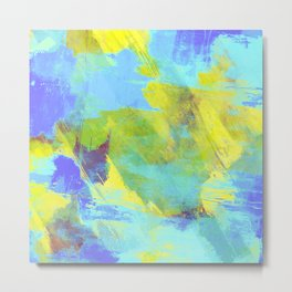 Hint Of Summer - Abstract, textured painting Metal Print