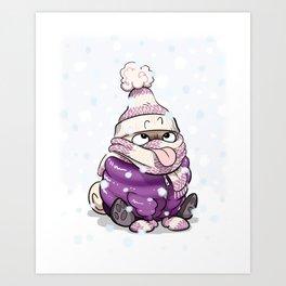 Snow Gear snowy day pug Art Print