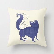 Blue Skunk Throw Pillow