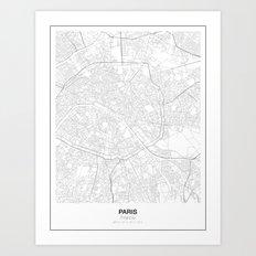 Paris, France Minimalist Map Art Print