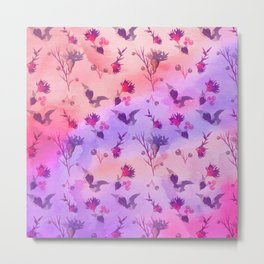 Modern hand painted abstract pink violet watercolor floral Metal Print