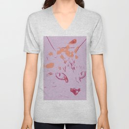 Soft Rose Abstract Cat Unisex V-Neck