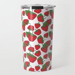 Strawberries - Summer Doodle Pattern Travel Mug