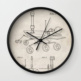 Nasa Mars Rover Patent - Mars Exploration Rover Art - Antique Wall Clock