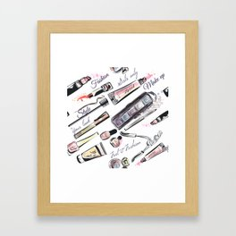 Fashion pattern with cosmetic in watercolor style Framed Art Print