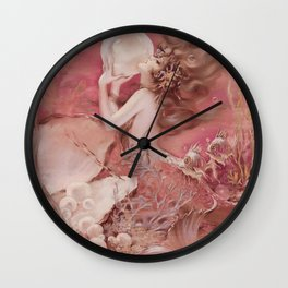 Mermaid with Pearl : Henry Clive Pink Peach Wall Clock