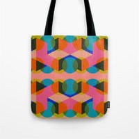 60s Tote Bags featuring Geometric 60s by Lilly Marfy