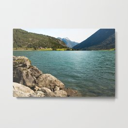 blue lake with mountains in Norway  | nature photo | fine art photo print | travel photography Metal Print