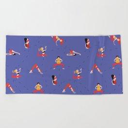 Yoga Girls blue lines Beach Towel